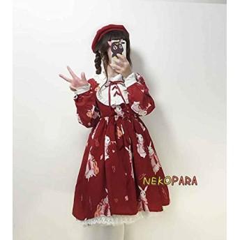 ムーン 2017夏の女の子ロリータカワイイミュージシャンウサギピーターパン襟ドレスプリンセスドリードレスかわいいドレス赤/ホワイト