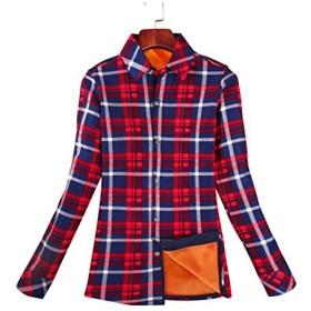 レディース 防寒 チェック 長袖シャツ 紺 赤 白 格子柄 裏ボア付き 暖か トップス