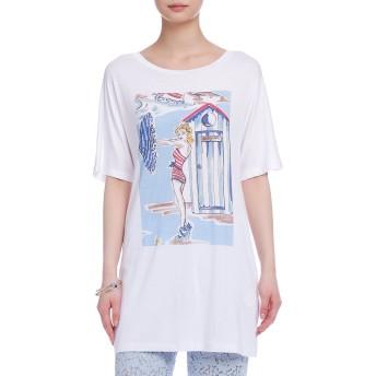 【66%OFF】ストレッチ プリント チュニックTシャツ ホワイト 40