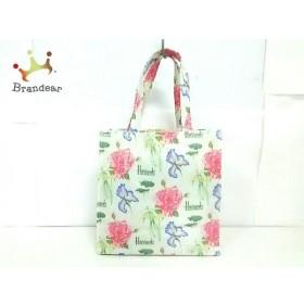 ハロッズ トートバッグ 美品 アイボリー×グリーン×マルチ 花柄 コーティングキャンバス 新着 20190912