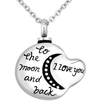 q &ロケットI Love You To The Moon And BackハートMoon Memorial Cremation Urn Necklaces For灰