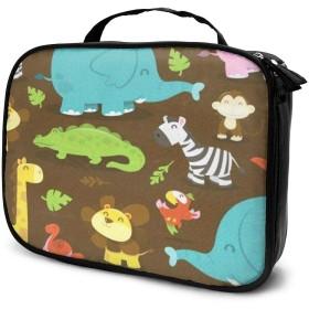 ハッピージャングル動物テーマキャンバスメイクアップバッグポーチ財布ハンドバッグオーガナイザージッパー付き