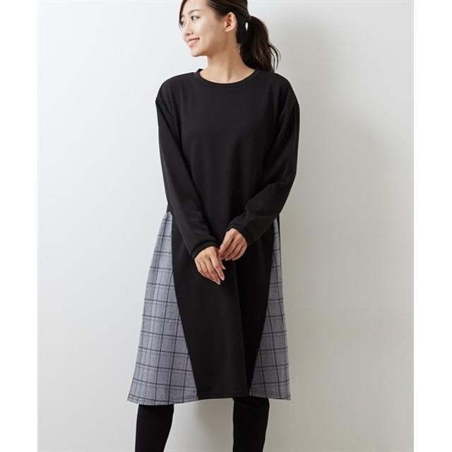 チェック切り替えリップルチュニックワンピース (ワンピース)Dress, 衣裙, 連衣裙