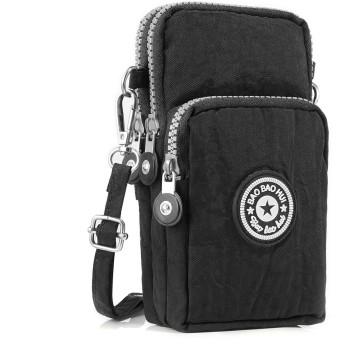 クロスボディー財布ポーチ携帯電話Single Shoulder Bag Coin Caseベルトハンドバッグ財布財布カードケースレディースウォレット型ケースホルダーMultipurpose ブラック