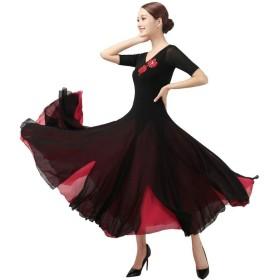 社交ダンスドレス半袖、モダンな滑らかなワルツタンゴパーティー大スイング競技ダンスドレス (Color : Red, Size : XL)