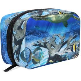 可愛いの海亀 化粧ポーチ メイクポーチ 機能的 大容量 化粧品収納 小物入れ 普段使い 出張 旅行 メイク ブラシ バッグ 化粧バッグ