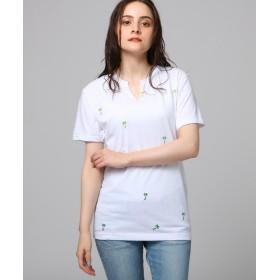 【30%OFF】 ジェット 総柄プリントキーネックTシャツ レディース オフホワイト(103) 04(M) 【JET】 【セール開催中】