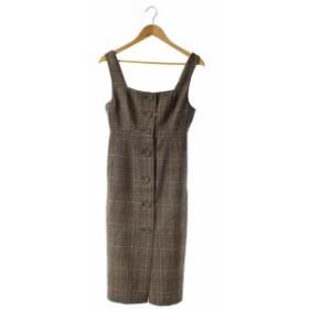 【中古】未使用品 LIMITLESS LUXURY ジャンパースカート ワンピース タイト ミモレ丈 グレンチェック 36 茶色