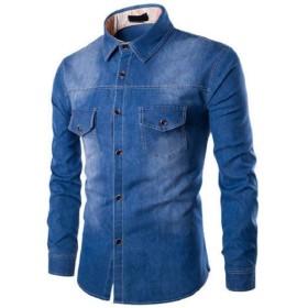 Romancly メンズプラスサイズラペルカラーロングスリーブフィットウォッシュデニムシャツ Dark Blue S