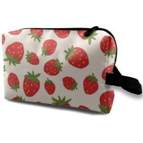 イチゴ柄 コスメバッグ 収納箱 洗面用具バッグ 化粧品収納 化粧道具入れ ジッパー付き 大容量 多機能 持ち運び便利 自宅 出張 男女兼用