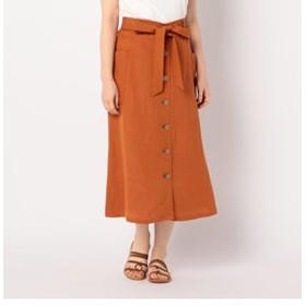 【NOLLEY'S:スカート】麻レーヨンスラブ前ボタンスカート