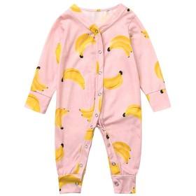 REWAGO 新生児の幼児の女の子の男の子漫画バナナロンパースジャンプスーツソフトパジャマ子供用長袖漫画バナナブラウスジャンプスーツ