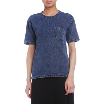 【65%OFF】デニムスウェット ポケット 半袖Tシャツ インディゴ s