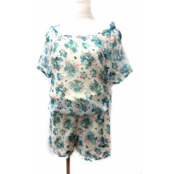 【中古】ロディスポット LODISPOTTO オールインワン M アイボリー ポリエステル 半袖 花柄 フレア フリル リボン