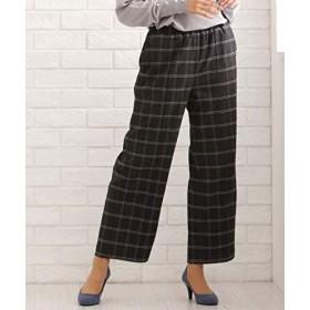 [nissen(ニッセン)] フロントピンタックチェック柄セミワイド パンツ 大きいサイズ レディース 黒×オフホワイトチェック LL