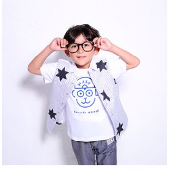 【BEBE ONLINE STORE:トップス】前ボーダーシャンブレーシャツ(120cm~130cm)