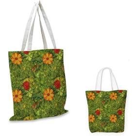 FloralFunky Composition 抽象的な花のモチーフ スワールライン 花びら 落とし 青 緑 オレンジ 12x15-10