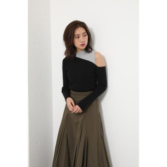 リエンダ Layered by color Knit TOP レディース BLK FREE 【rienda】
