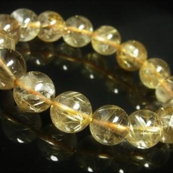おすすめ お試し価格 一点物 ゴールド タイチンルチル ブレスレット 金針水晶 天然石 数珠 13ミリ R52 シラー