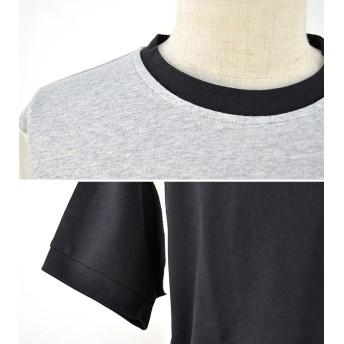 Tシャツ - SHOT+ メンズ インレイ フットボール Tシャツ 裏毛 半袖 クルーネック 丸首 切替 インナー リブネック 無地 カジュアルブラックホワイト ネイビー グリーン S M L【175】[10][MT] 【SHOT 】『z』[180724]