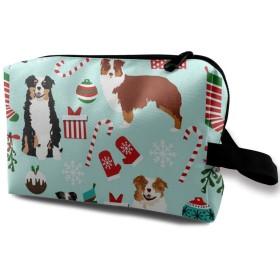 Australian Shepherd Christmas Cute Aussie Dogs 化粧品バッグトラベル化粧品バッグ大容量収納バッグウォッシュバッグ文房具バッグ小物収納バッグビジネストラベル