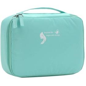 ALBAMD- 化粧ポーチ 大容量 メイクポーチ 機能的 トラベル コンパクト 旅行 化粧品収納バッグ メイクボックス 軽量 コスメケース コスメバッグ 持ち運び便利 収納 小物入れ 軽い 出張 海外 (緑)