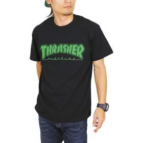 (スラッシャー) THRASHER Dot HOMETOWN 半袖Tシャツ TH91218 (M, BG:BLACK×GREEN)