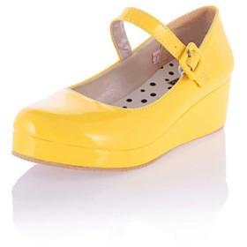 [AcMeer] パンプスレディース 厚底靴 ストラップ ウェッジソール 歩きやすい 脱げない コスプレ ロリータシューズ 防水 軽量 森ガール 可愛い おしゃれ お嬢様風 通学靴 黒 ピンク イエロー