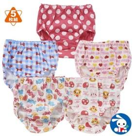 [EFD]5枚組ショーツ(ウサギネコ・キャンディ・リボン・ドット・ハート)【90cm・95cm】[ショーツ 女の子 下着 パンツ ベビー 子供 子ども こども ベビー服 子供服 子ども服 こども服 赤