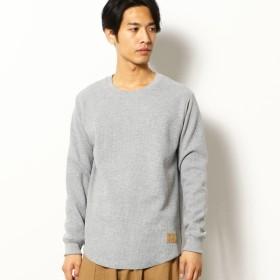 [マルイ] 裏起毛 ワッフル ラウンド Tシャツ/パープル&イエロー(Purple & Yellow)