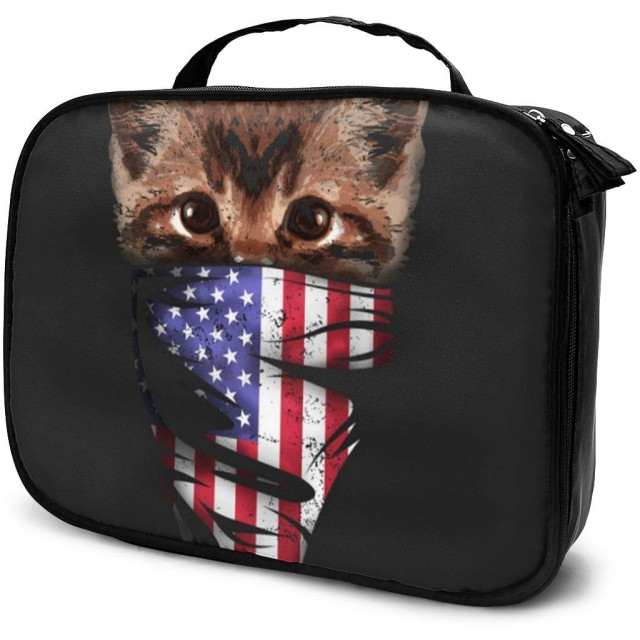 The Mountain Patriotic Kitten1女性用化粧品バッグ愛らしい広々とした化粧バッグ旅行用トイレタリーバッグアクセサリーオーガナイザー