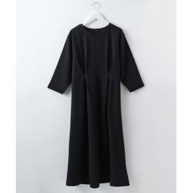 ふくれジャガードウエストタックデザイン7分袖ワンピース (ワンピース),dress