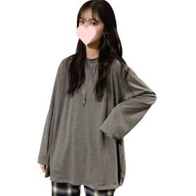 BOXUAN Tシャツ レディース長袖 トップス ゆったり 無地 Tシャツ大きいサイズカジュアル 人気 Tシャツ