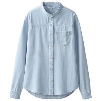 秋のジーンズシャツ女性の長袖スリムブラウススタンドカラーコート ( 色 : B , サイズ さいず : S s )