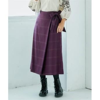 チェック柄フラップガウチョパンツ (レディースパンツ),pants