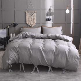 100%軽量マイクロファイバー寝具セット-ストラップシンプルでモダンな無地スタイルの布団カバー135x200cm-1/2枕カバー51x70cm、お手入れが簡単で滑らかで滑らか(特大)