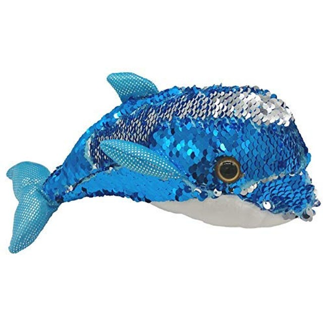 LMC Products Blue Dolphin Stuffed Animals - Reversible Sequin Dolphin Plush - Flip Blue to Silver - 10 [並行輸入品]