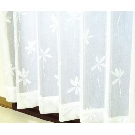 かーてん屋さんアウトレット オーダーカーテン ミラーレースカーテン [スィート] 防炎 断熱 UVカット 花柄 ナチュラルホワイト色 幅90cm 丈88cm