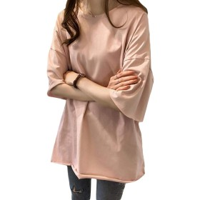 MLbosstシャツ レディース 半袖 トップス 薄手 カットソー 韓国ファッション 大きいサイズ 夏物 ロング丈 無地 (Rピンク)