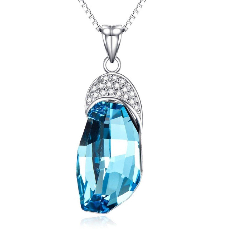 CS-DB Pendants 1.8ct Stone White Gemstone Silver Necklaces