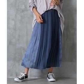 配色シャイニーサテンプリーツスカート (ロング丈・マキシ丈スカート)Skirts, 裙子