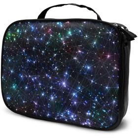 宇宙スターダスト 明るい輝いている星 幾何学 メイクボックス 化粧品収納ボックス 化粧バッグ 化粧ポーチ 持ち運び便利 家用に大活躍な化粧箱 小物整理 プレゼント ギフト
