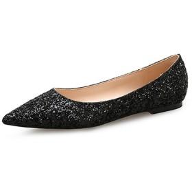 [ヤク] パンプス レディース ブラック シューズ ポインテッドトゥ フラットヒール 小さいサイズ 結婚式 オフィス 24.5cm 疲れにくい おしゃれ エレガント スリッポン フラットシューズ 痛くない 歩きやすい 婦人靴 レオパード モカシン