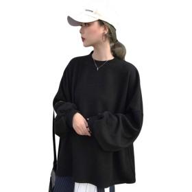REHOODNレディース トレーナー パーカー スウェット オーバー パーカー ファッション アウター かわいい 長袖 ゆる トップスブラックF
