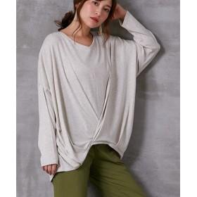【ゆったりワンサイズ】綿100%フロントタック入デザイントップス (Tシャツ・カットソー)(レディース)T-shirts