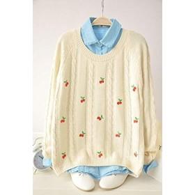 ムーン 日本の女性の原宿刺繍チェリー甘い綿ニット長袖セータープルオーバー