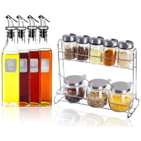 キッチン用ガラス調味料ボックスセット家庭用コンビネーション調味料ボトルソルトシェーカー調味料ボックス調味料収納ボックス調味料 - 976 (色 : 1)
