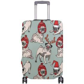 SoreSore(ソレソレ)スーツケースカバー 防水 伸縮素材 キャリーカバー ラゲッジカバー パグ クリスマス かわいい 可愛い アニマル おもしろ 可愛い おしゃれ 防塵 旅行 出張 便利 S M L XLサイズ