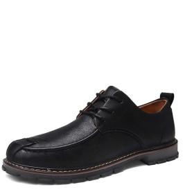 [Jusheng-shoes] メンズシューズ レースアップマイクロファイバーロートップ衝突回避つま先ソフト軽量ステッチビーガンラバーソールオックスフォード男性用ビジネスシューズ カジュアルシューズ (Color : ブラック, サイズ : 24.5 CM)