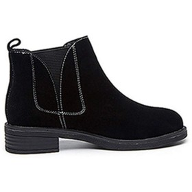 [SENNIAN] ラウンドトゥ 24.0cm ショート ブーツ 3cmヒール ブラック レディース ブーツ スリッポン 靴 厚底 秋冬ブーツ 履きやすい 痛くにくい 歩きやすい コンフォート 通勤 仕事 OL デート 卒業式 身長アップ コンフォート 快適 通気